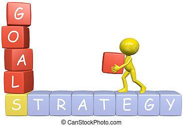stratégie commerciale, homme, buts, dessin animé, constructions, 3d