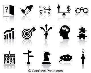 stratégie, ensemble, icônes, business