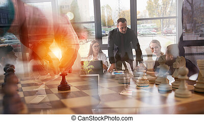 stratégie, homme affaires, business, échecs, game., concept, tactic., jeu