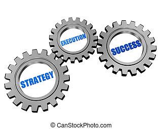 stratégie, reussite, gris, exécution, engrenages, argent