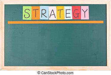 stratégie, tableau noir, mot, coloré, vide