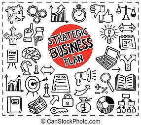 stratégique, business, icons.