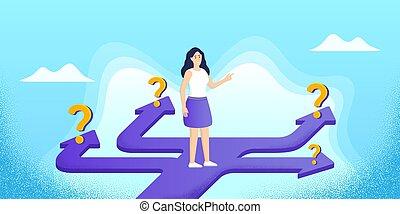 strategy., choice., femme, recherche, choix, carrière, design., confondu, manière, droit, question, sentier, marks., vecteur, avenir