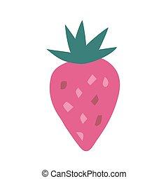 strawberrry, isolé, blanc, arrière-plan., dessiné, main, style