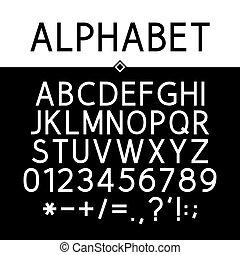 strict, noir, alphabet
