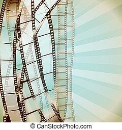 strips., cinéma, vecteur, retro, fond, pellicule
