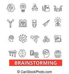 strokes., inventer, conception, signes, pensée, concept., isolé, créer, blanc, plat, idée génie, linéaire, symbole, editable, icons., innovation, illustration, fond, ligne, création, idée, vecteur