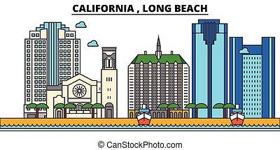 strokes., silhouette, repères, bâtiments, skyline:, concept., paysage, vecteur, ligne, long, plat, architecture, panorama, , ville, editable, conception, plage., rues, illustration, californie, icons.