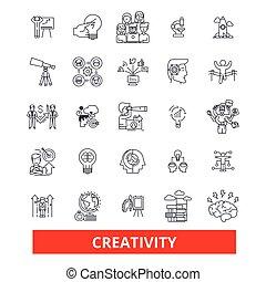 strokes., talent, inventer, créatif, conception, signes, concept., isolé, blanc, plat, linéaire, symbole, editable, icons., innovation, illustration, fond, ligne, inspiration, imagination, vecteur, art, créativité