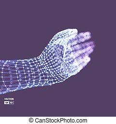 structure., illustration., concept., main, arm., connexion, vecteur, model., humain, avenir, technologie, 3d