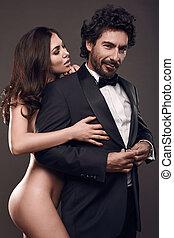 studio., élégant, sexy, portrait, couple, mode