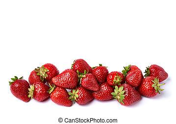 studio, fraise, fond, frais, isolé, blanc, coup
