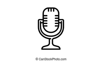 studio, microphone, animation, icône
