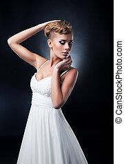 studio, romantique, jeune, bride., joli, portrait, blond, coup