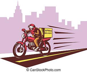 style, équitation, woodcut, courrier, personne, moto, livraison, fait