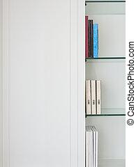 style, étagère, cabinet, traditionnel, verre, bois, blanc, livre