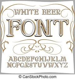 style, étiquette, font., bière, vecteur, vendange