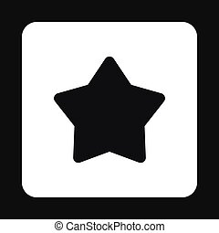 style, étoile, simple, pointu, noir, icône, cinq