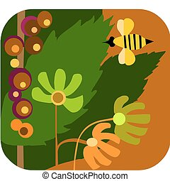 style, abeilles, fleurs, vecteur, dessin animé, jardin