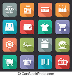 style, achat, ensemble, coloré, icônes, plat
