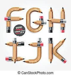 style., alphabet, bois, vecteur, crayon