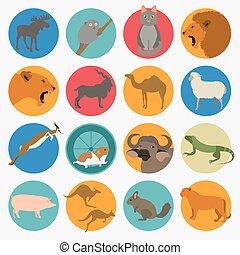 style, animaux, set., icône, vecteur, plat, mammifères