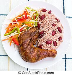 style, antilles, secousse, -, poulet, riz