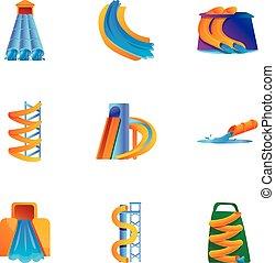 style, aquapark, moderne, ensemble, dessin animé, icône