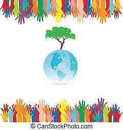 style, arbre, idée, main, la terre, sauver