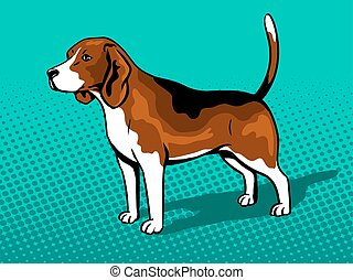 style, art, chien, pop, beagle, vecteur, illustration