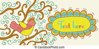 style, bannière, retro, oiseau, cadre