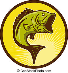 style, basse, woodcut, largemouth, fish, sauter, fait, retro