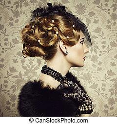 style, beau, portrait, woman., retro, vendange