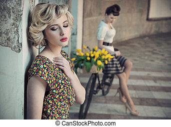 style, beautés, photo, jeune, deux, retro