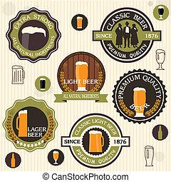 style, bière, collection, étiquettes, insignes, vendange