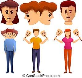 style, bipolaire, ensemble, dessin animé, désordre, icônes