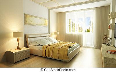 style, chambre à coucher, moderne, intérieur, 3d