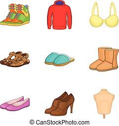 style, chaussures, ensemble, moderne, dessin animé, icône