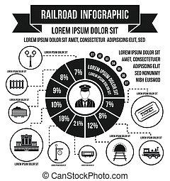 style, chemin fer, infographic, simple, éléments