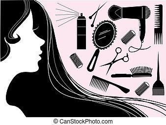 style, cheveux, salon beauté, vecteur, element.