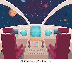 style, cockpit., intérieur, illustration, vaisseau spatial, navette, vecteur, tableau bord, intérieur, dessin animé, panneau