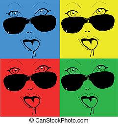 style, coloré, faces, girl, n'importe quel, pop-art, lunettes