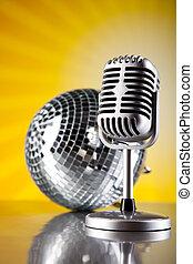 style, concept, saturé, fond, musique, retro, microphone