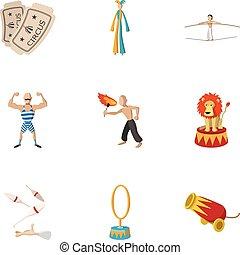 style, concert, icônes, ensemble, cirque, dessin animé