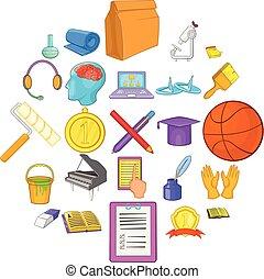 style, connaissance, icônes, ensemble, nouveau, dessin animé