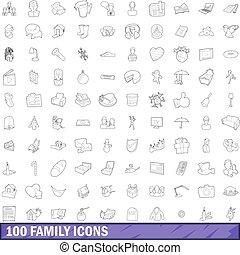 style, contour, famille, icônes, ensemble, 100
