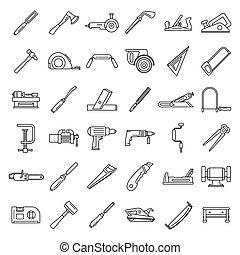 style, contour, fonctionnement, ensemble, charpentier, icône