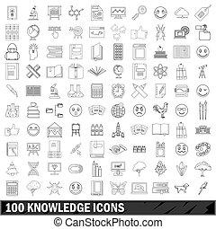 style, contour, icônes, ensemble, 100, connaissance
