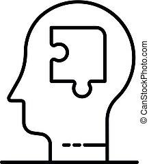 style, contour, puzzle, esprit, icône, homme