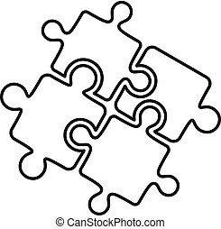 style, contour, puzzle, solution, collaboration, icône